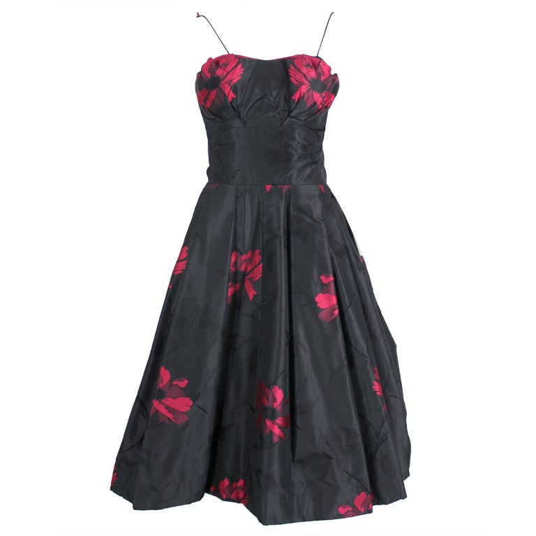 1950s black and fuchsia floral silk taffeta cocktail dress for Costume jewelry for evening gowns