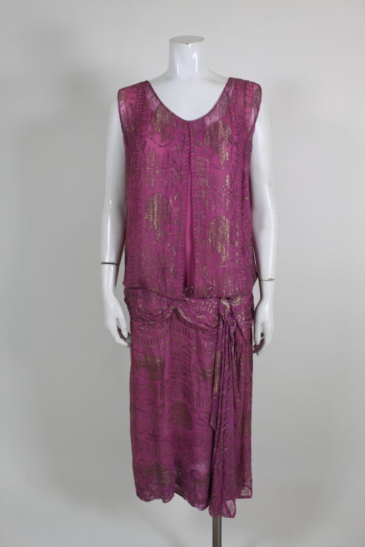 1920's Metallic Rose Pink Lamé Party Dress 2