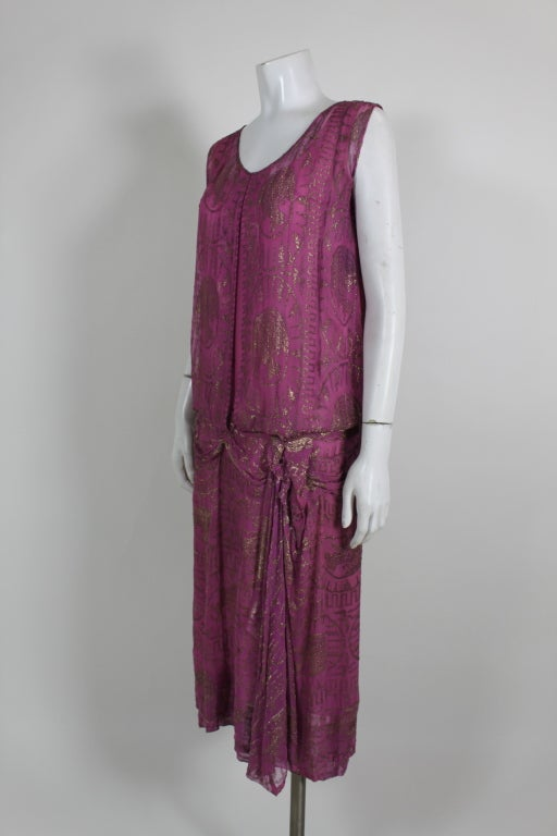 1920's Metallic Rose Pink Lamé Party Dress 3