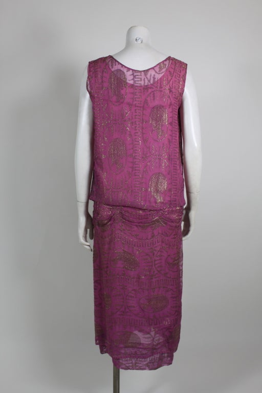 1920's Metallic Rose Pink Lamé Party Dress 5
