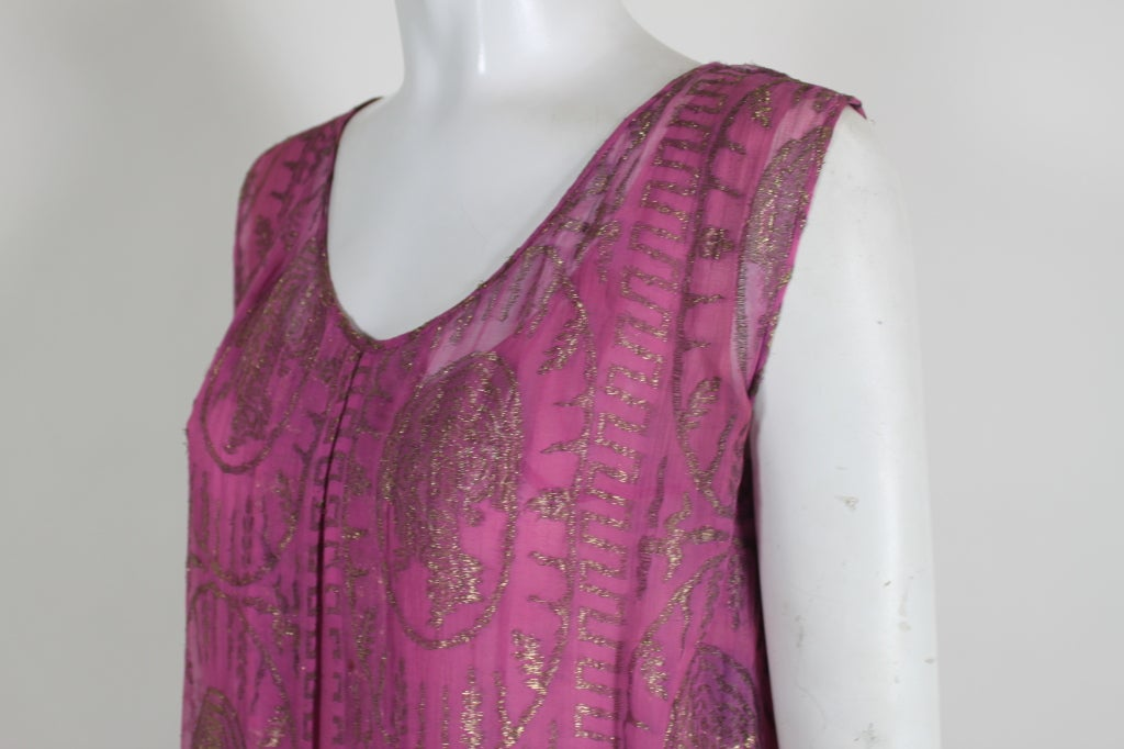 1920's Metallic Rose Pink Lamé Party Dress 6