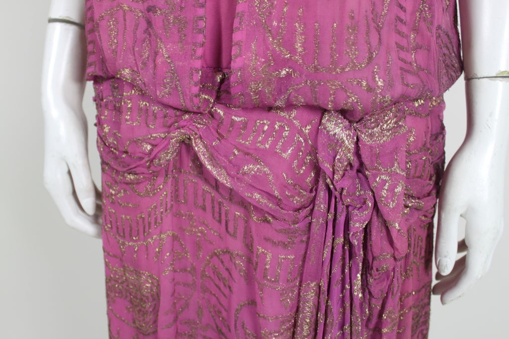1920's Metallic Rose Pink Lamé Party Dress 7