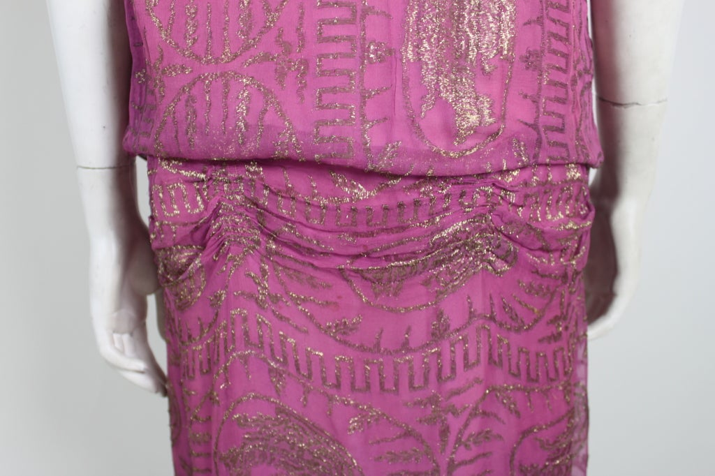 1920's Metallic Rose Pink Lamé Party Dress 8