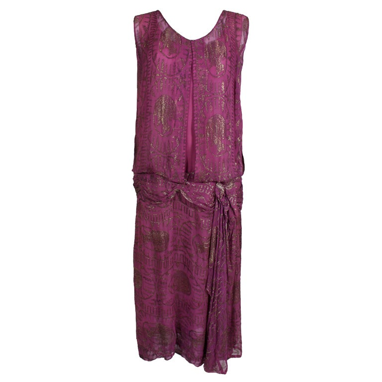 1920's Metallic Rose Pink Lamé Party Dress 1
