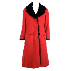 1960's Balmain Lipstick Red Coat with Fur Trim