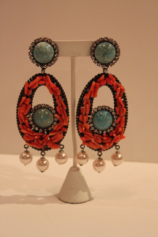 VRBA Dramatic Coral and Rhinestone Chandelier Earrings 2