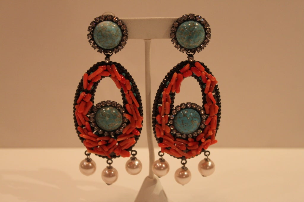VRBA Dramatic Coral and Rhinestone Chandelier Earrings 3
