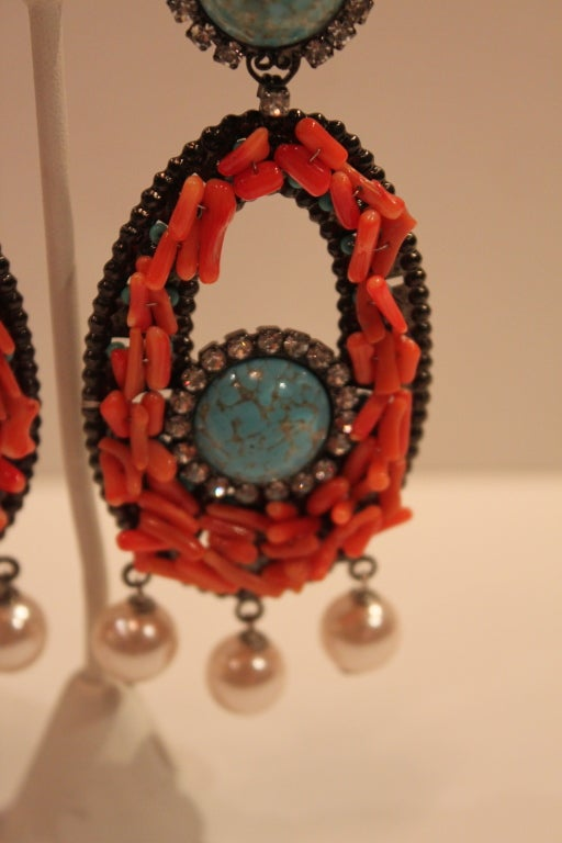 VRBA Dramatic Coral and Rhinestone Chandelier Earrings 4