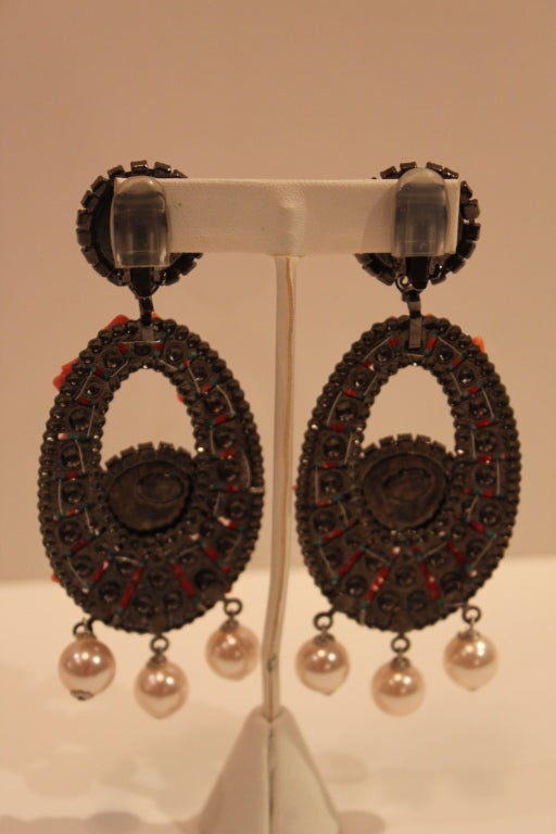 VRBA Dramatic Coral and Rhinestone Chandelier Earrings 6