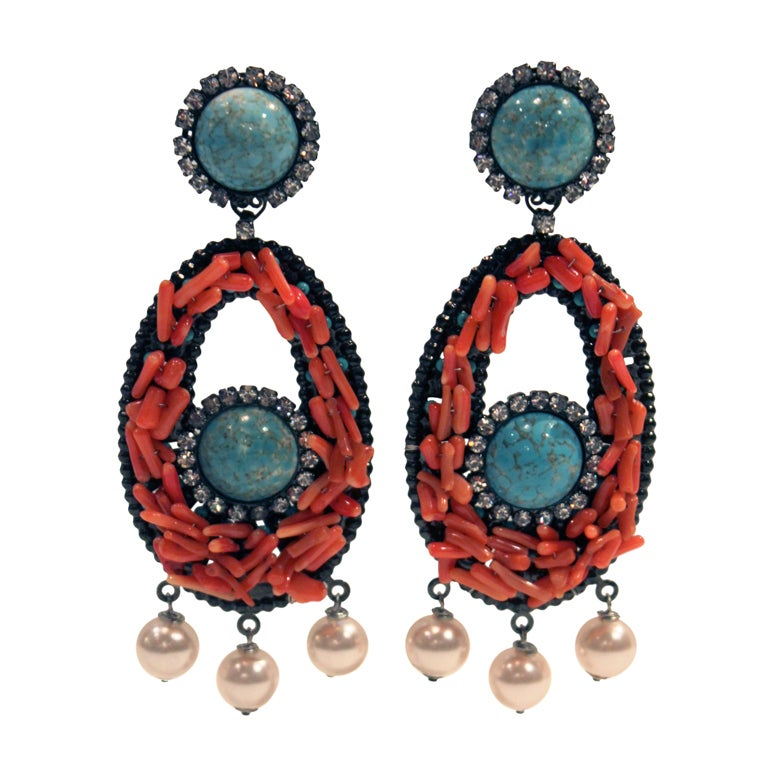 VRBA Dramatic Coral and Rhinestone Chandelier Earrings 1