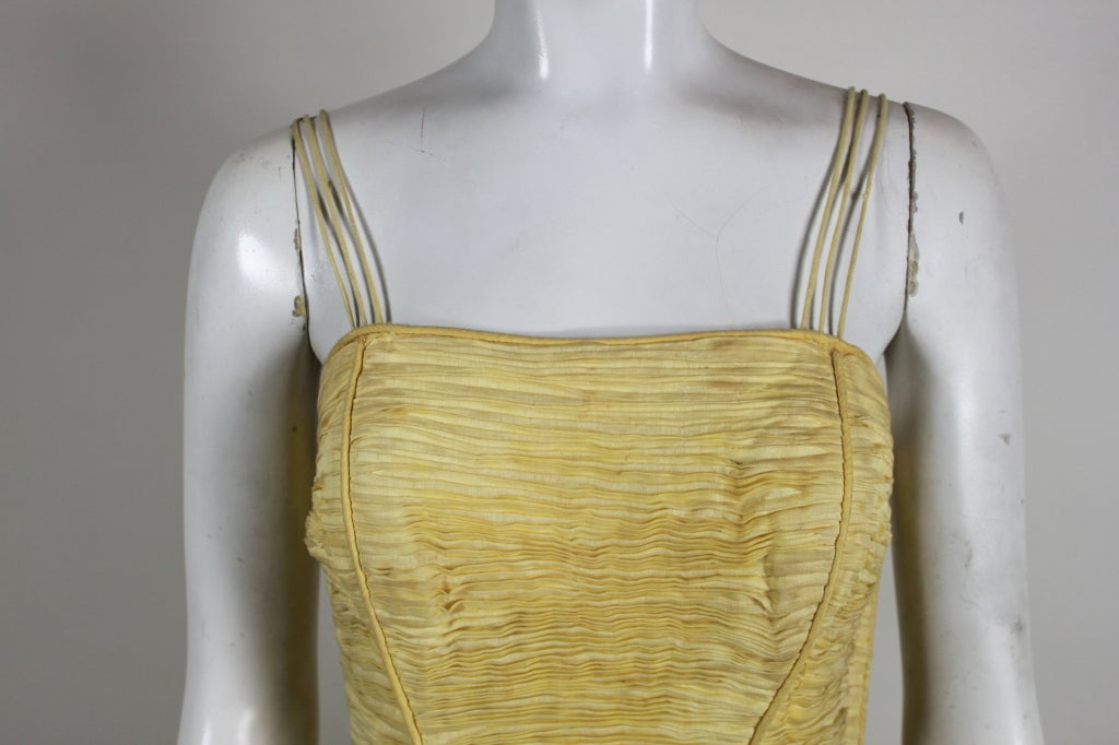 1950 S Sybil Connolly Hand Pleated Linen Dress At 1stdibs