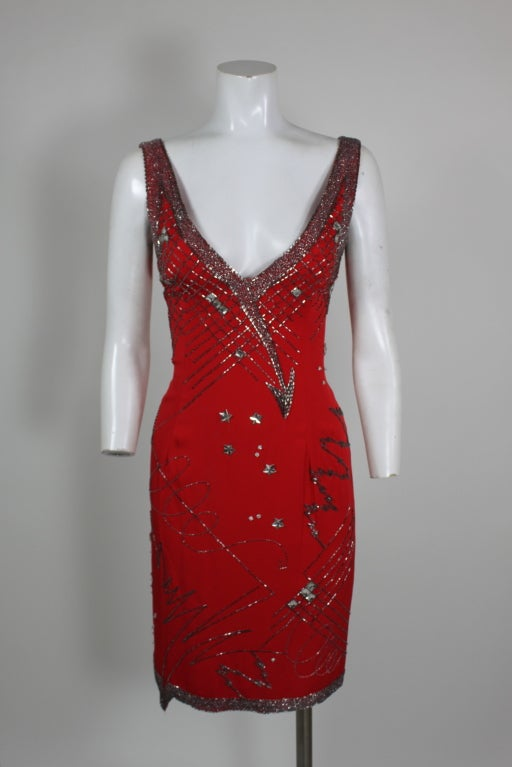 1980's Fabrice Red Silk Beaded Cocktail Dress image 2