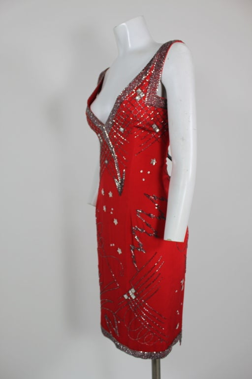 1980's Fabrice Red Silk Beaded Cocktail Dress image 3