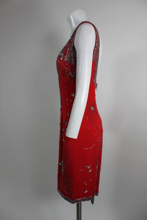 1980's Fabrice Red Silk Beaded Cocktail Dress image 4