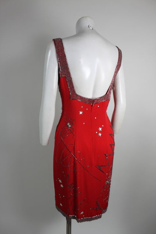 1980's Fabrice Red Silk Beaded Cocktail Dress image 5