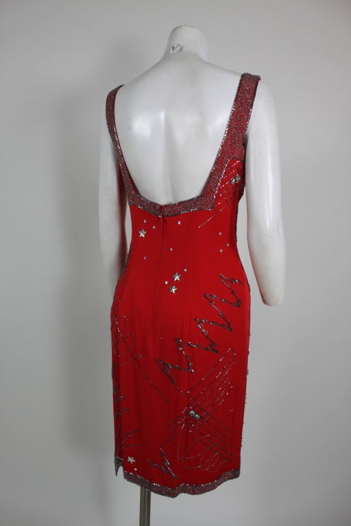 1980's Fabrice Red Silk Beaded Cocktail Dress image 6