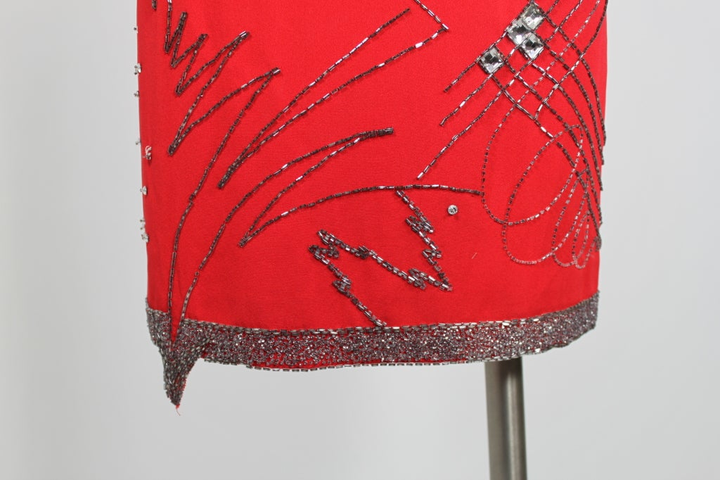 1980's Fabrice Red Silk Beaded Cocktail Dress image 8