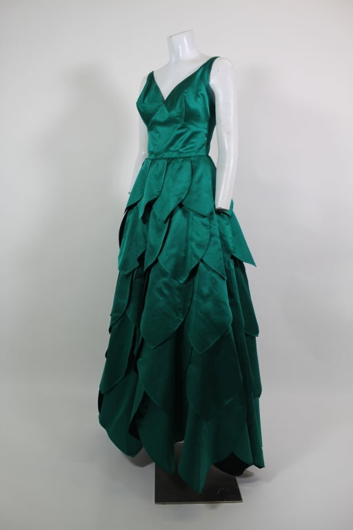1950's Emerald Green Satin Ball Gown with Petal Skirt 2