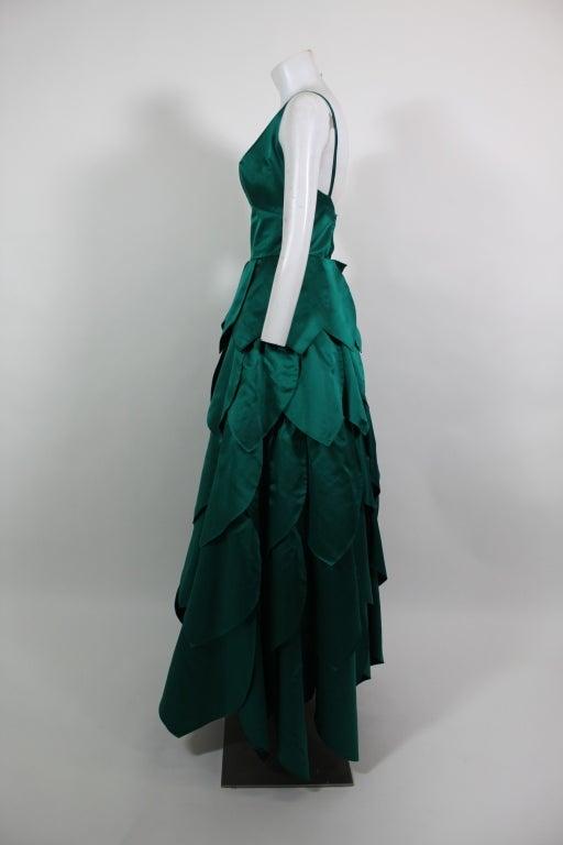 1950's Emerald Green Satin Ball Gown with Petal Skirt 3