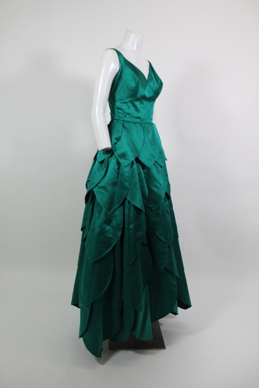1950's Emerald Green Satin Ball Gown with Petal Skirt 4