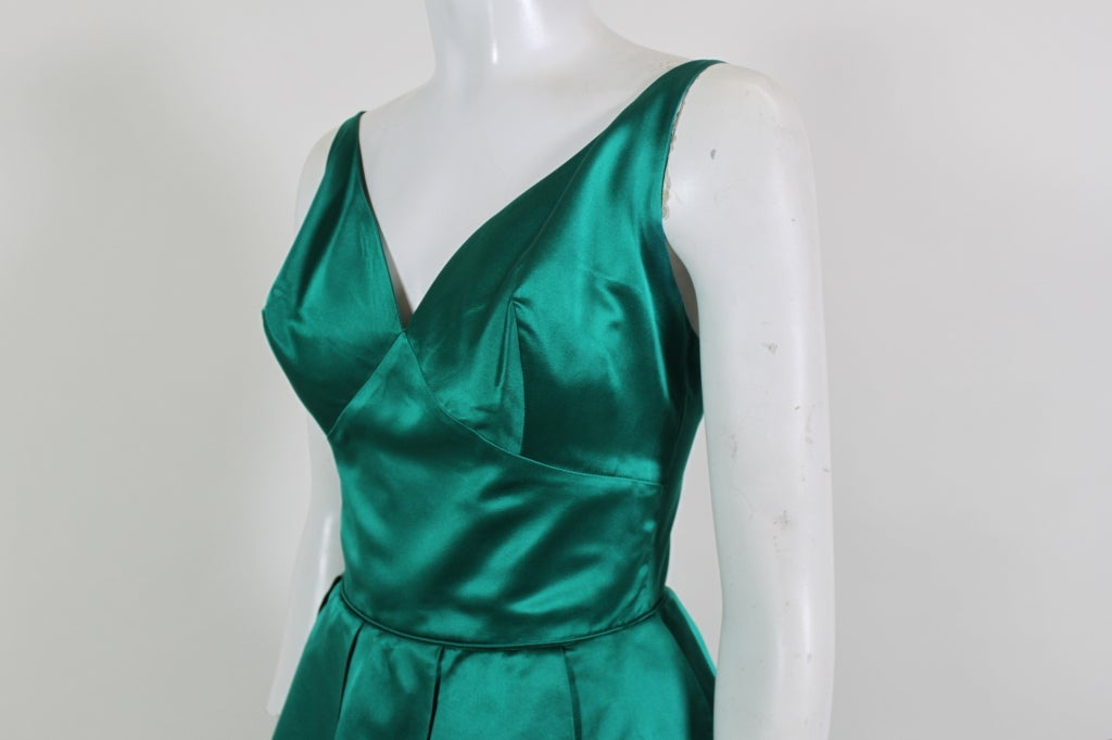 1950's Emerald Green Satin Ball Gown with Petal Skirt 5