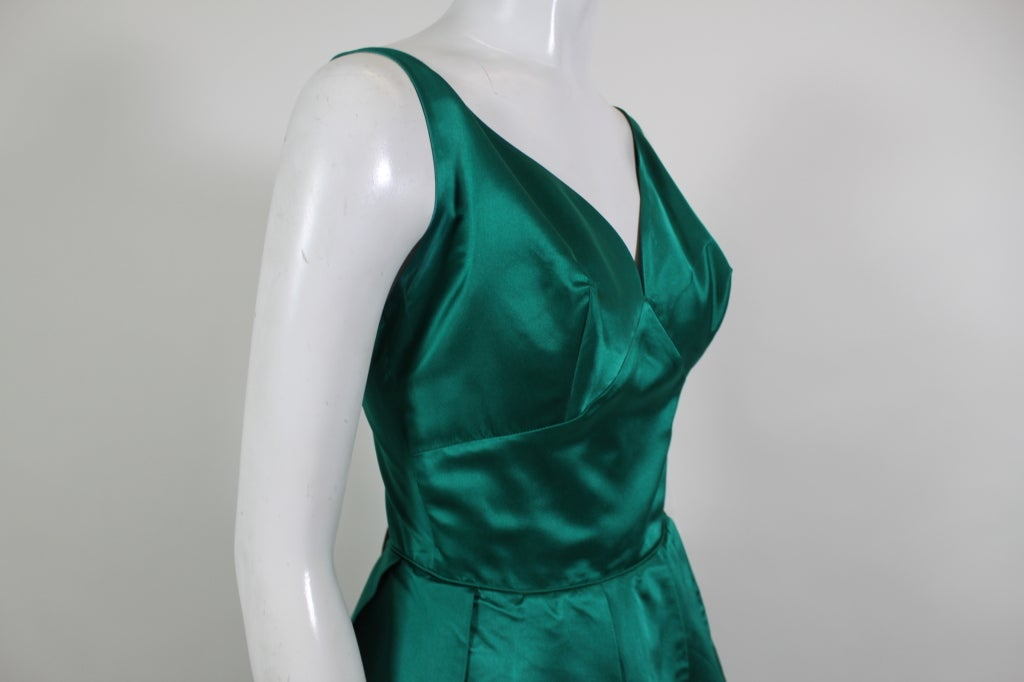 1950's Emerald Green Satin Ball Gown with Petal Skirt 6
