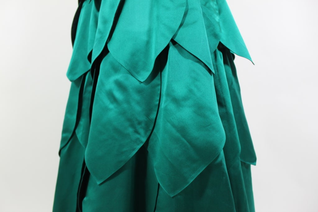 1950's Emerald Green Satin Ball Gown with Petal Skirt 7