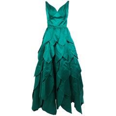 1950's Emerald Green Satin Ball Gown with Petal Skirt