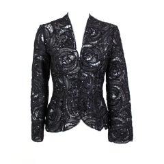 Armani Sequined Tulle Rosette Evening Jacket