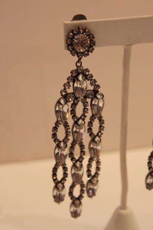 1960s Kenneth Jay Lane Kjl Crystal Chandelier Earrings At