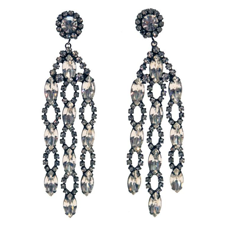 1960s Kenneth Jay Lane KJL Crystal Chandelier Earrings at 1stdibs