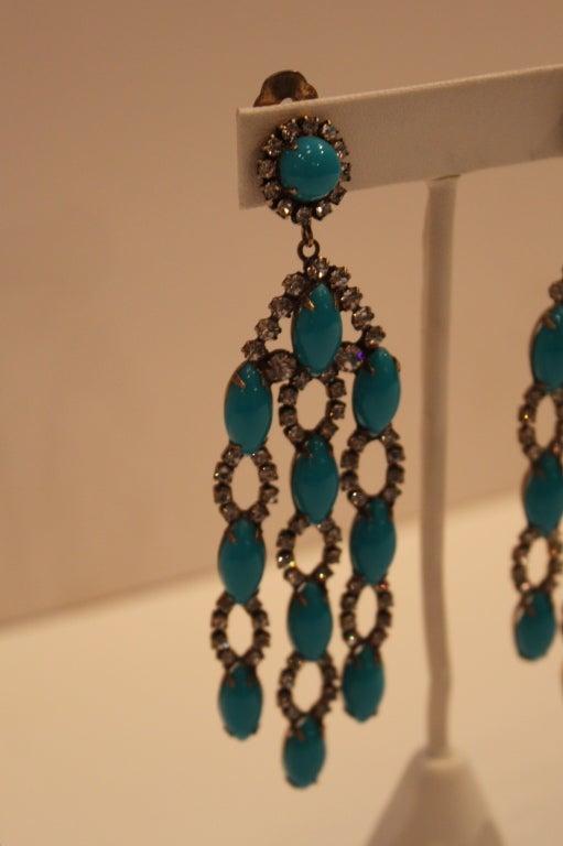 1960s Kjl Crystal And Faux Turquoise Chandelier Earrings