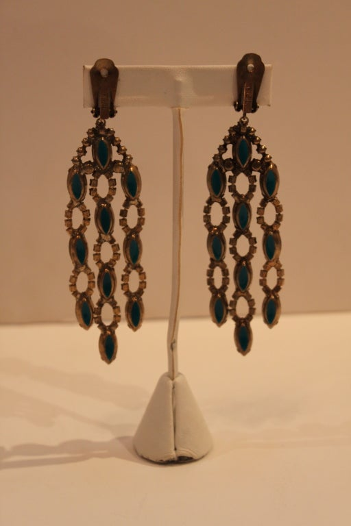 1960s Kjl Crystal And Faux Turquoise Chandelier Earrings