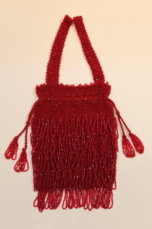 1920s Art Deco Red Beaded Fringe Evening Bag 2