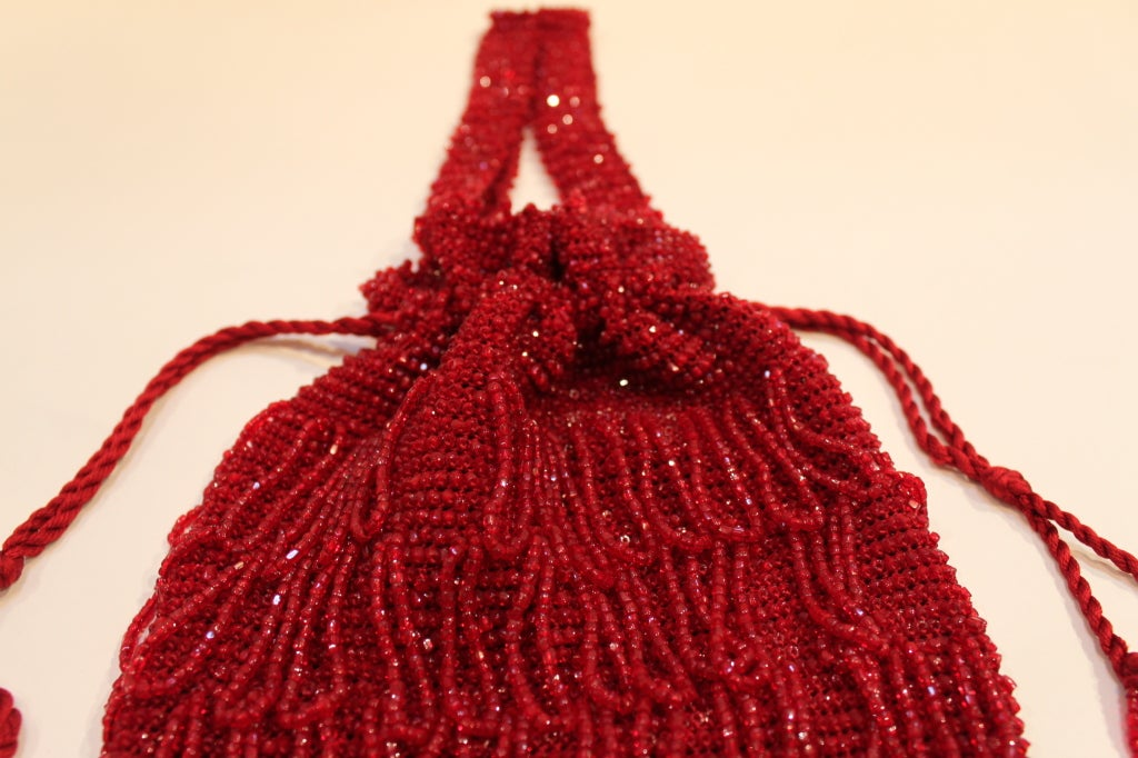 1920s Art Deco Red Beaded Fringe Evening Bag 3