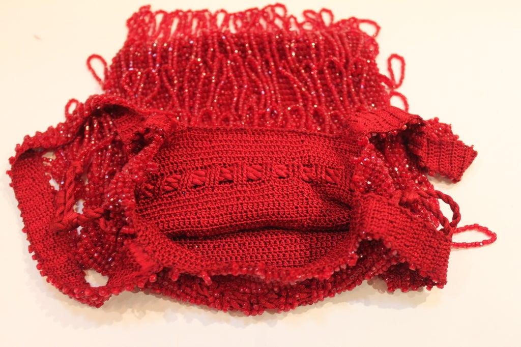 1920s Art Deco Red Beaded Fringe Evening Bag 5