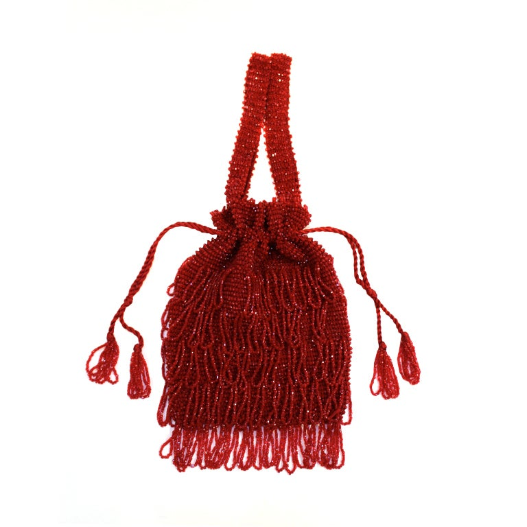 1920s Art Deco Red Beaded Fringe Evening Bag 1