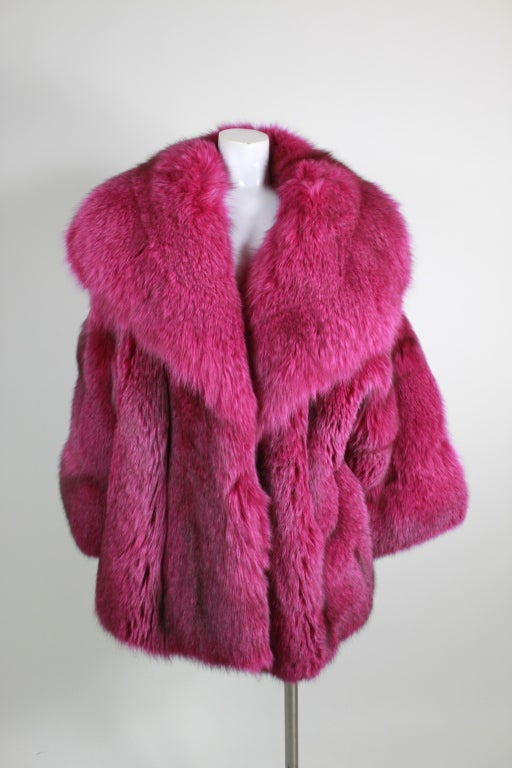 1990s Patrick Kelly Fuchsia Fox Fur Jacket 2