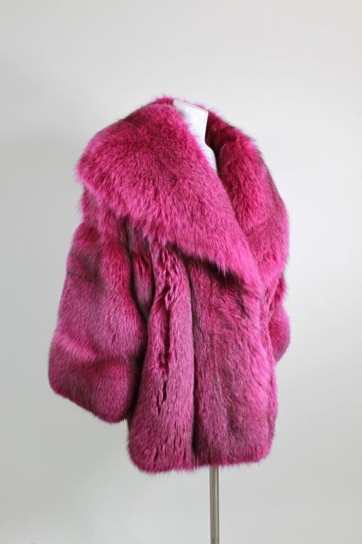1990s Patrick Kelly Fuchsia Fox Fur Jacket 3