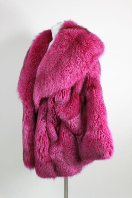 1990s Patrick Kelly Fuchsia Fox Fur Jacket 4