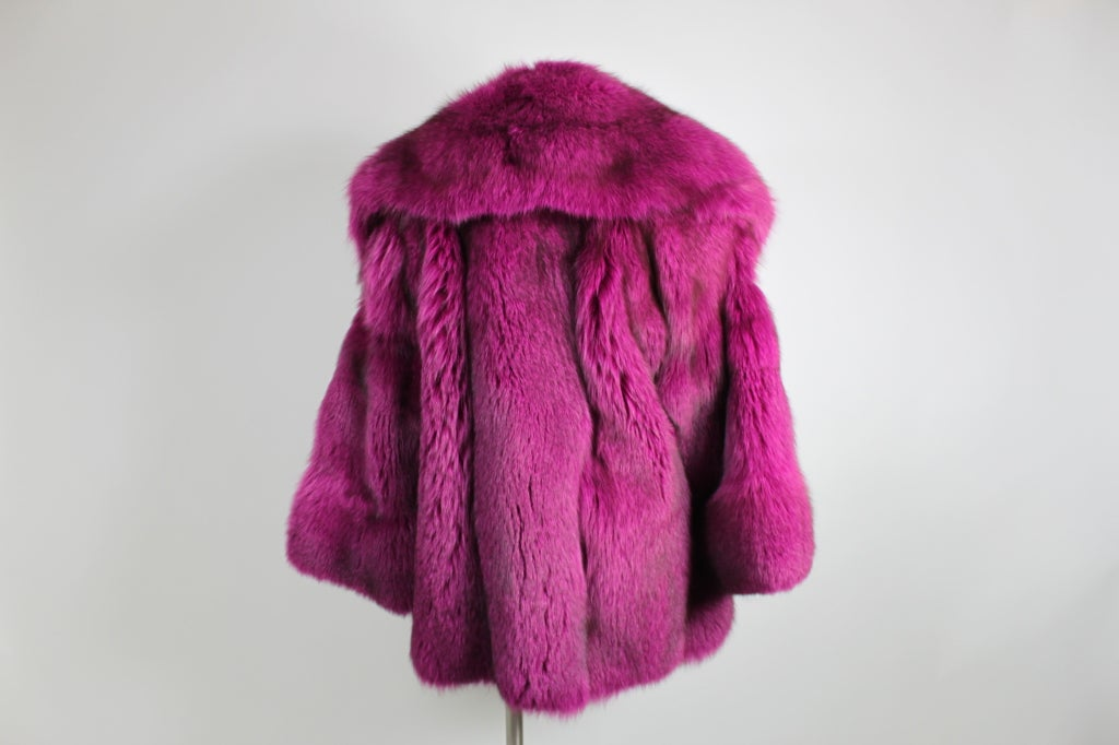 1990s Patrick Kelly Fuchsia Fox Fur Jacket 5