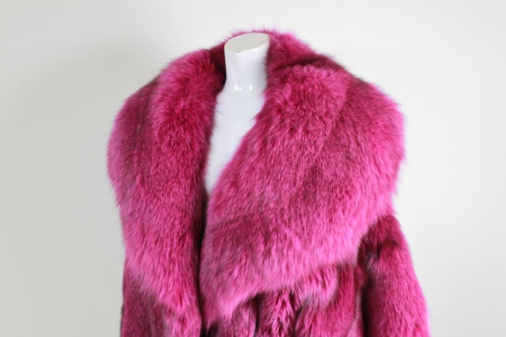 1990s Patrick Kelly Fuchsia Fox Fur Jacket 6