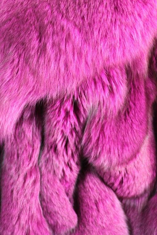 1990s Patrick Kelly Fuchsia Fox Fur Jacket 7