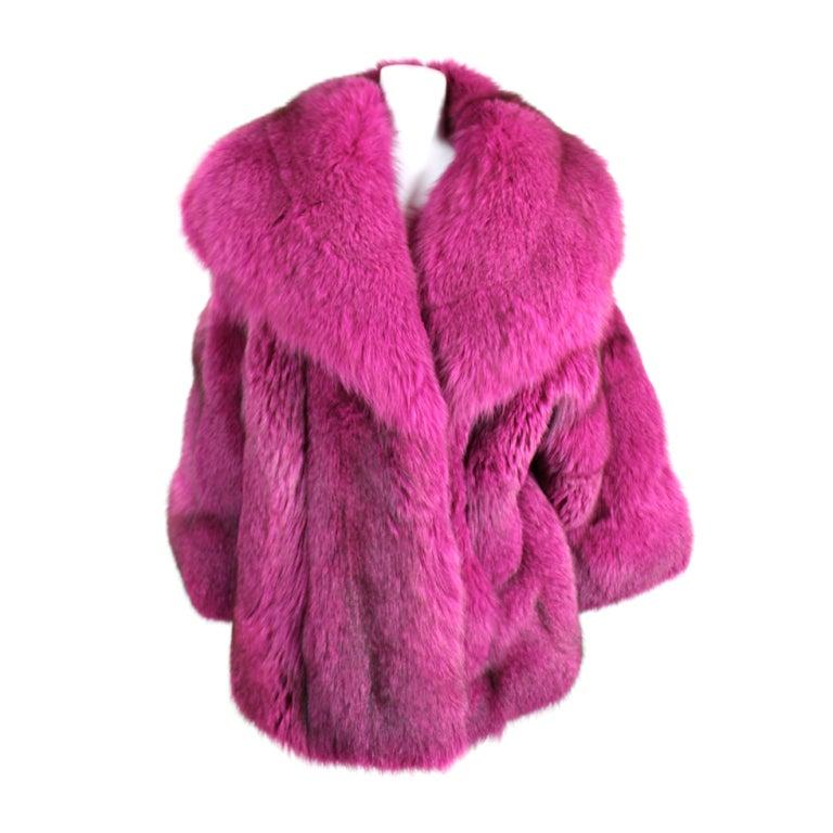 1990s Patrick Kelly Fuchsia Fox Fur Jacket 1