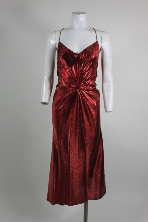 1970s Hollys Harp Red Lamé Gown with Marabou Jacket image 2
