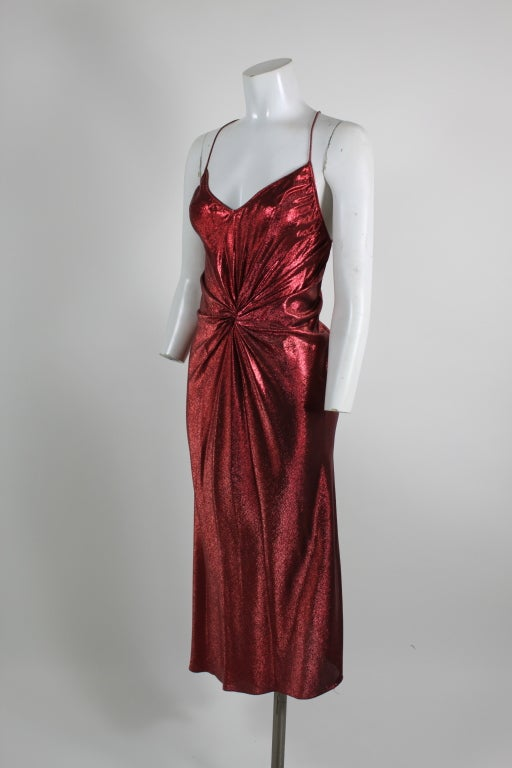 1970s Hollys Harp Red Lamé Gown with Marabou Jacket image 3