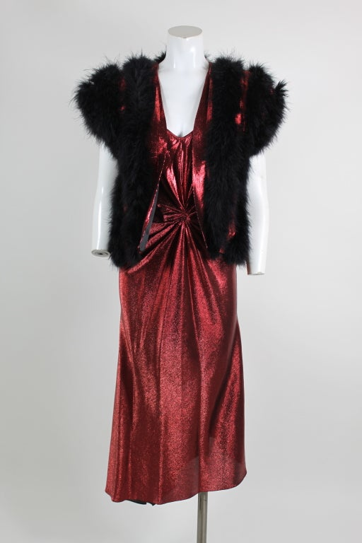 1970s Hollys Harp Red Lamé Gown with Marabou Jacket image 5