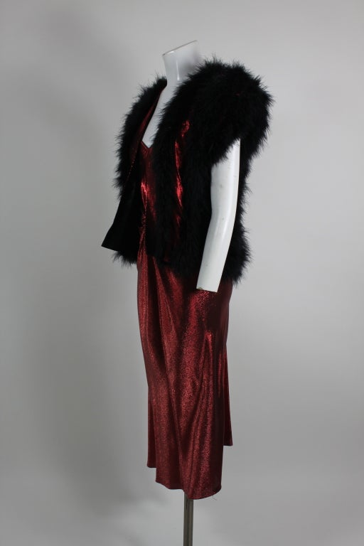 1970s Hollys Harp Red Lamé Gown with Marabou Jacket image 6