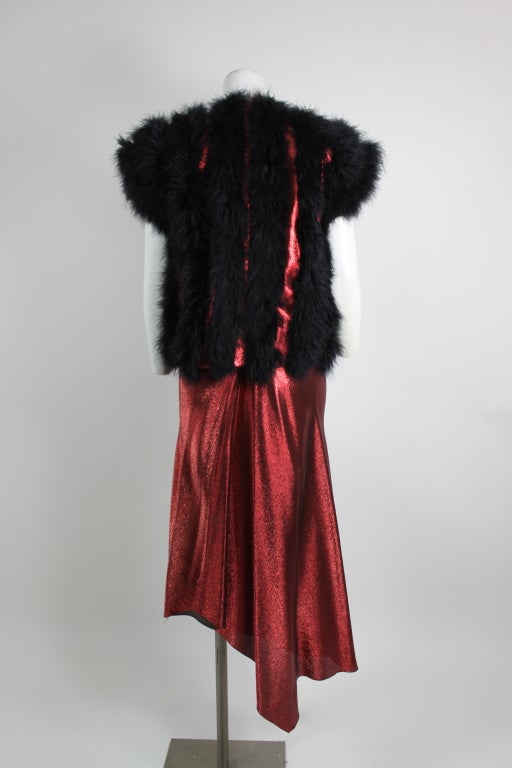 1970s Hollys Harp Red Lamé Gown with Marabou Jacket image 7