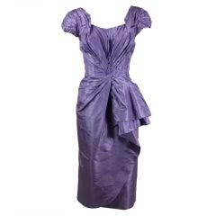 Ceil Chapman 1950s Lilac Silk Taffeta Cocktail Dress